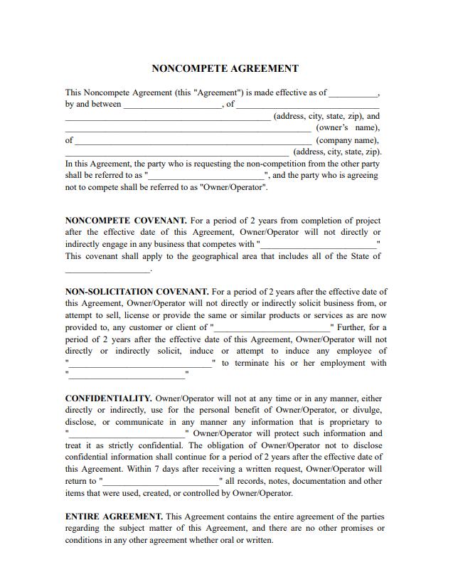 non compete agreement pdf